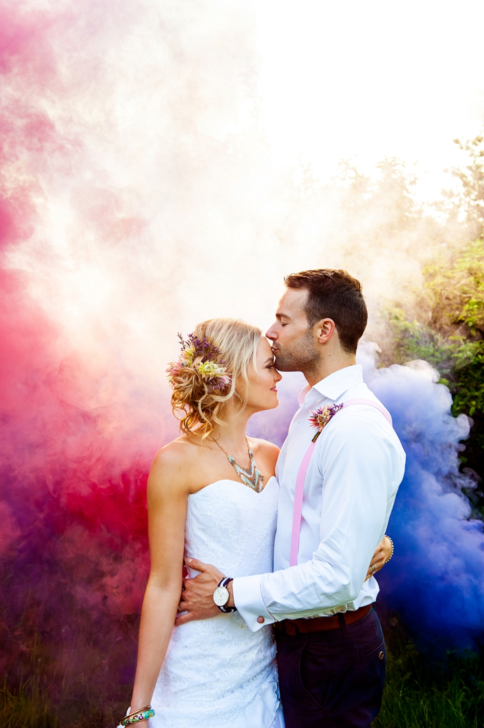 Best wedding photographers London Smoke bombs