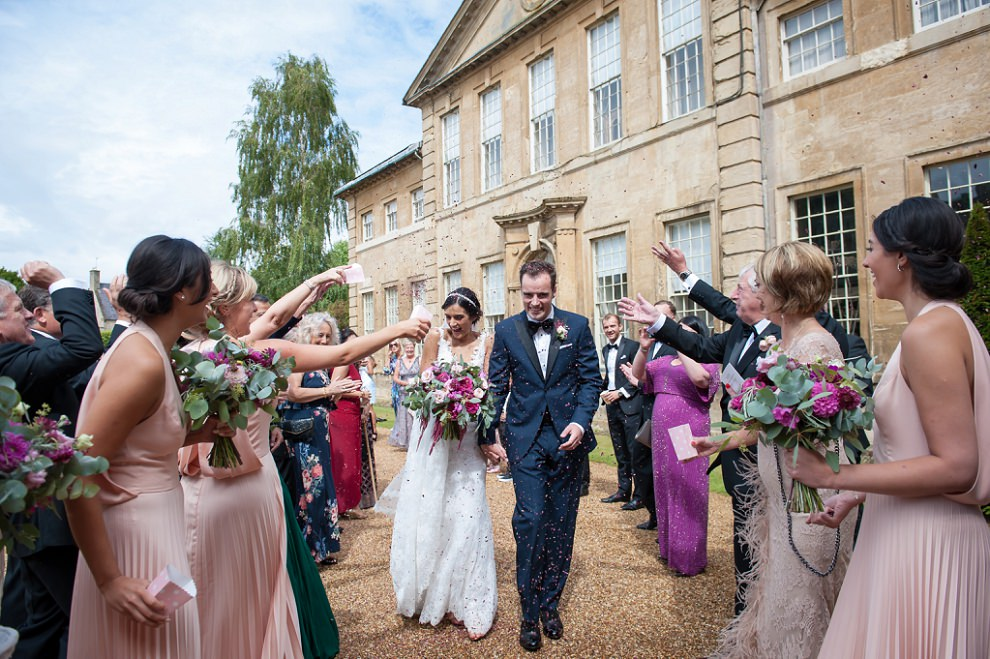 Confetti at Aynhoe Park wedding