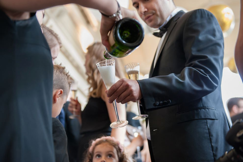 Champagne being poured at wedding