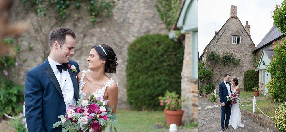 Wedding photo in Cotswolds village street