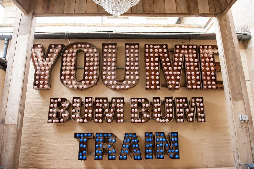 You me bum bum train sign at Aynhoe Park