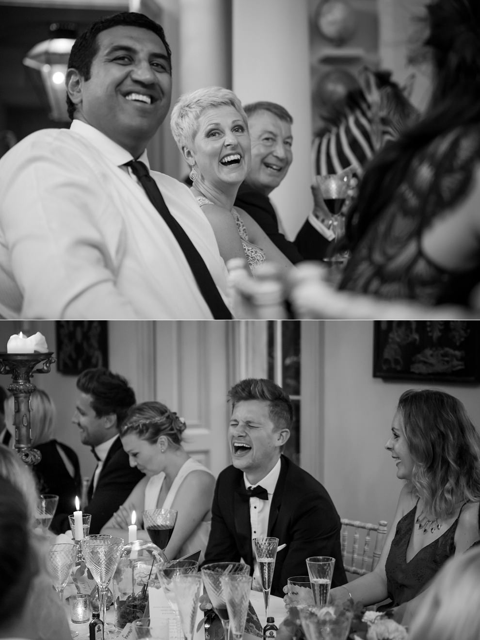 Candid guests laughing at wedding