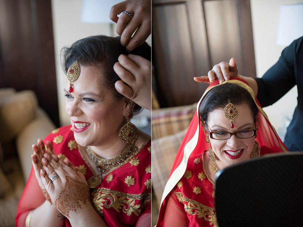 bride getting ready for Hindu wedding