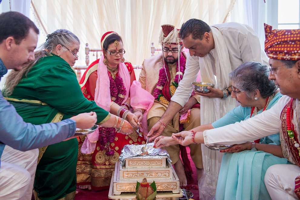 Family traditions at a Hindu wedding ceremony