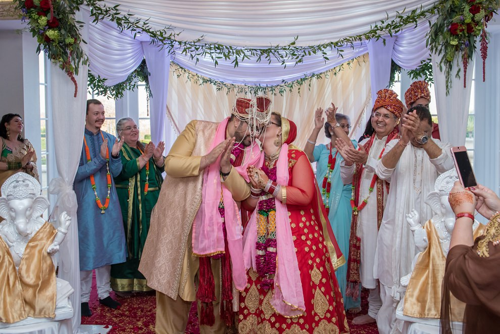 First kiss at a hindu wedding at Froyle Park