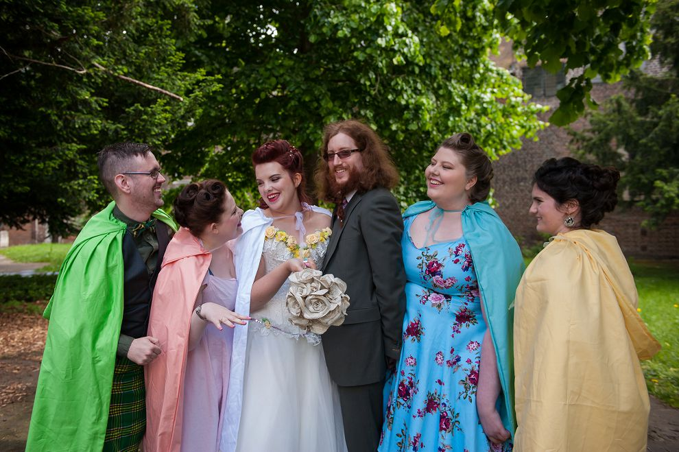 Bridesmaids and bridesman group photo