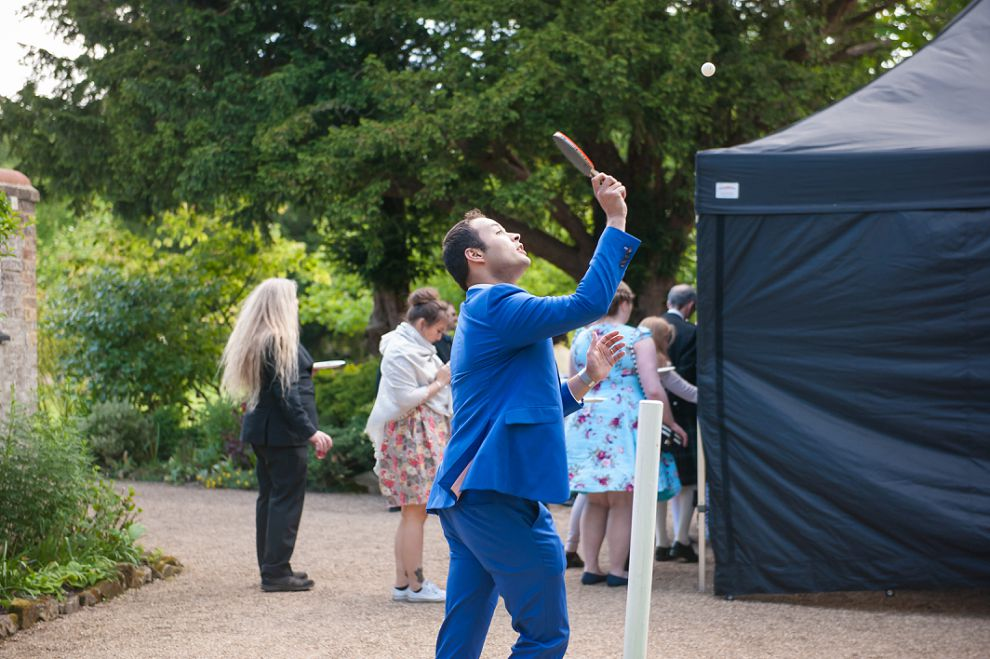 Garden games at wedding - table tennis