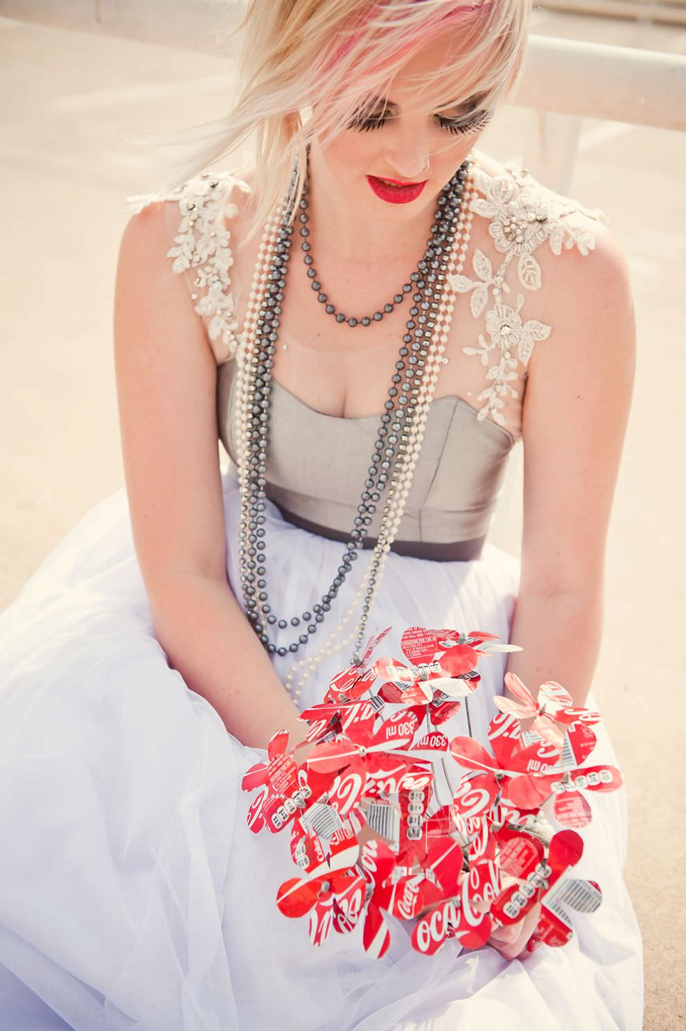 bridal bouquet flowers made of coke coca-cola tins