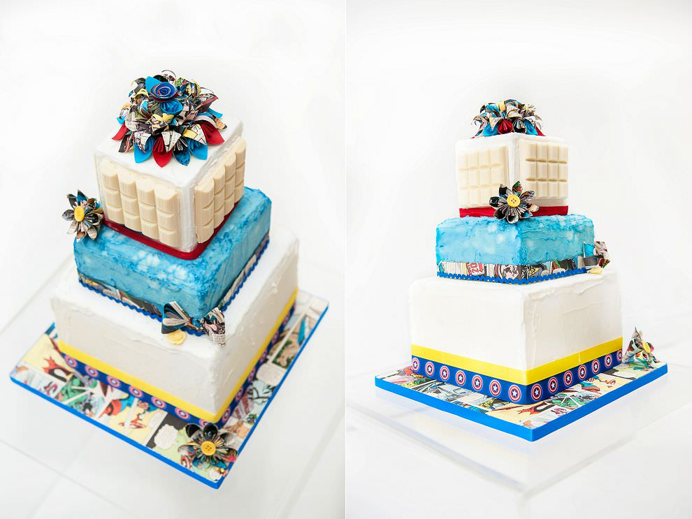 Superhero geek wedding cake comic book