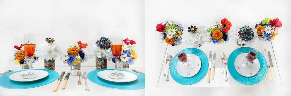 Superhero wedding table decor place settings