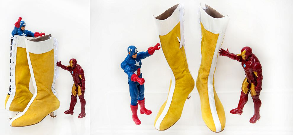 Superhero wonder woman yellow boots with captain America and Iron Man