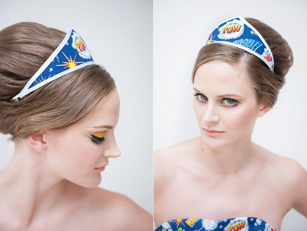 comic book wonderwoman headdress and 60s makeup