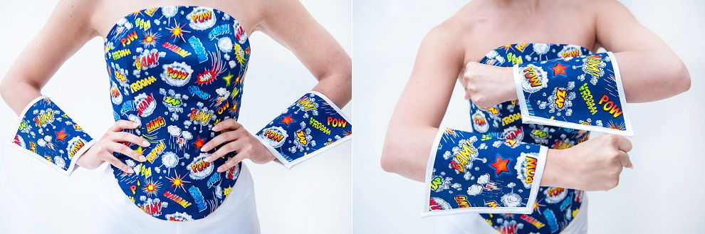 Arm cuffs for superhero wedding outfit Wonderwoman