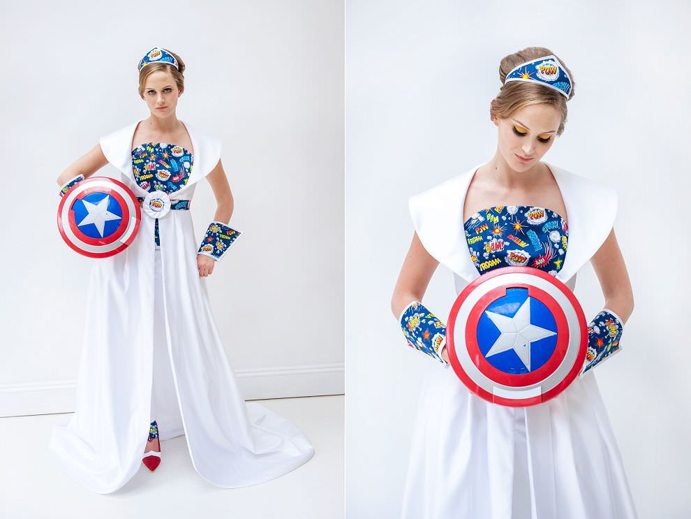 Bride with Captain America shield