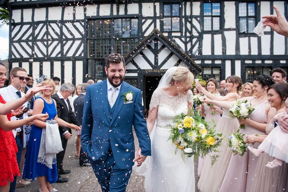 Confetti at Laura Ashley hotel wedding Elstree