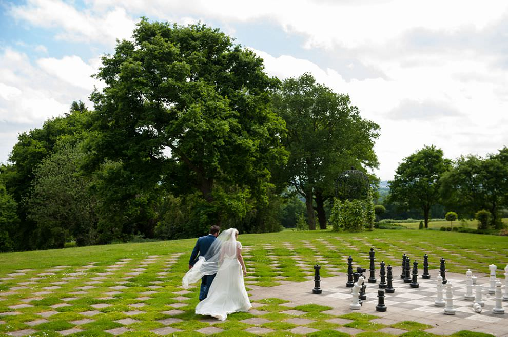 Wedding portraits - giant chessboard