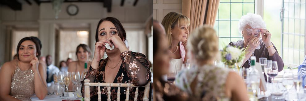 Guests crying at wedding