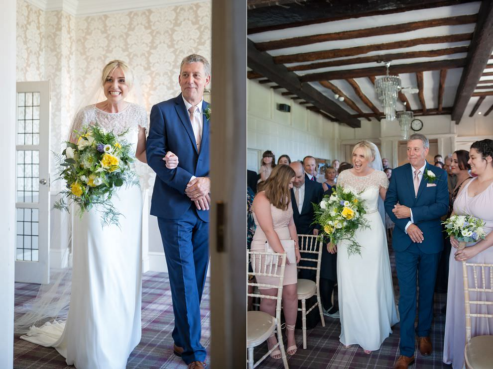 Bride walking down aisle at Laura Ashley Hotel wedding