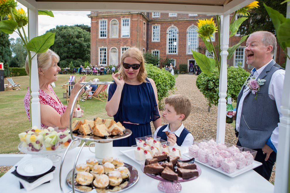 afternoon tea in Chicheley Hall garden wedding