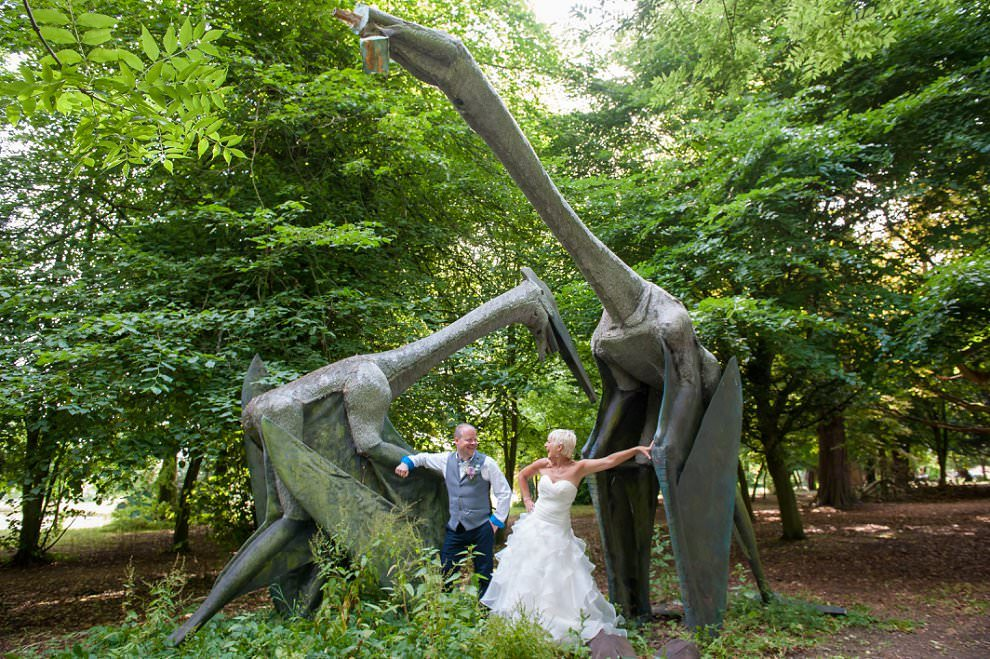 Dinosaurs at Chicheley Hall wedding
