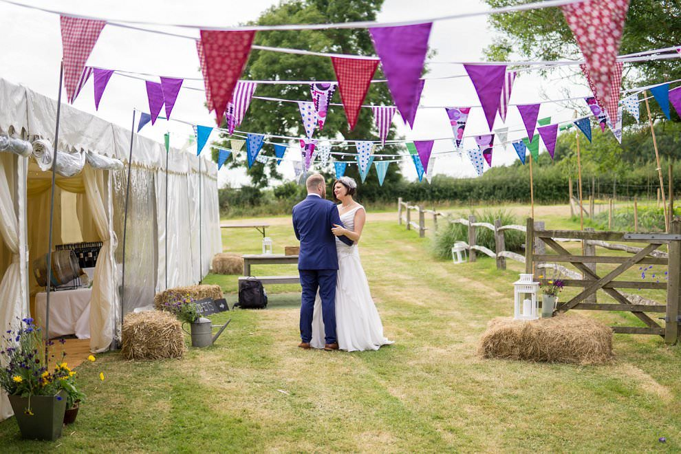 colourful wedding bunting