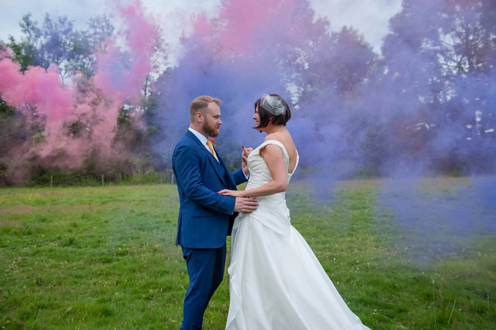 Smoke grenades at wedding
