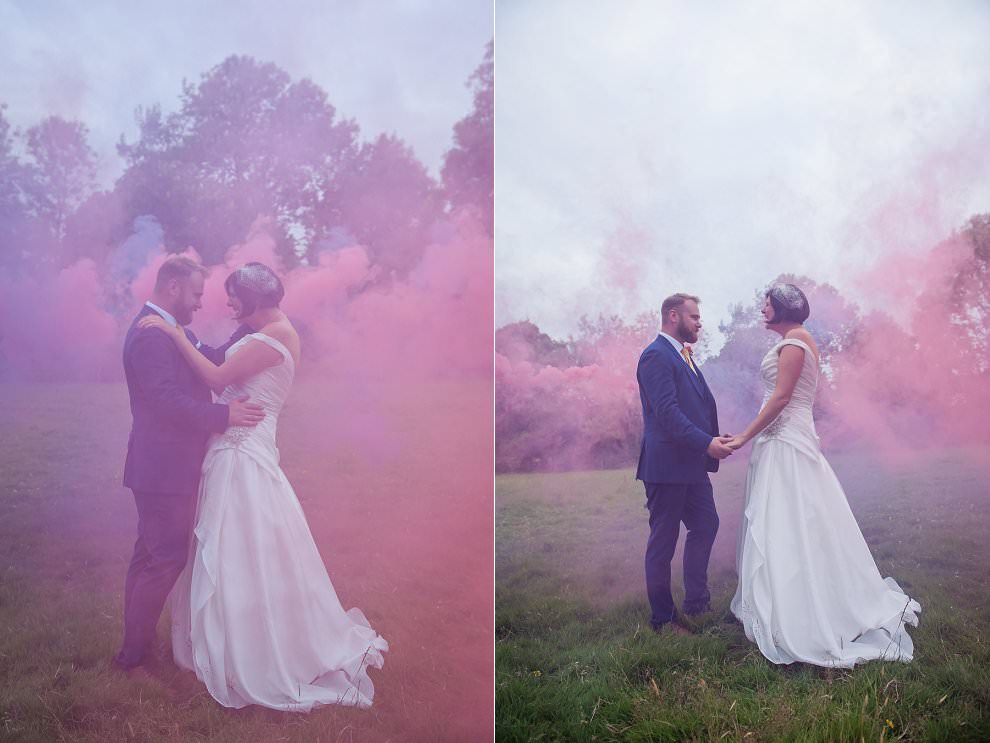 smoke bombs at Sussex wedding