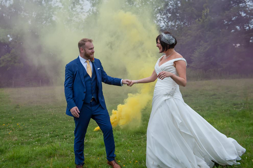 yellow smoke bombs wedding