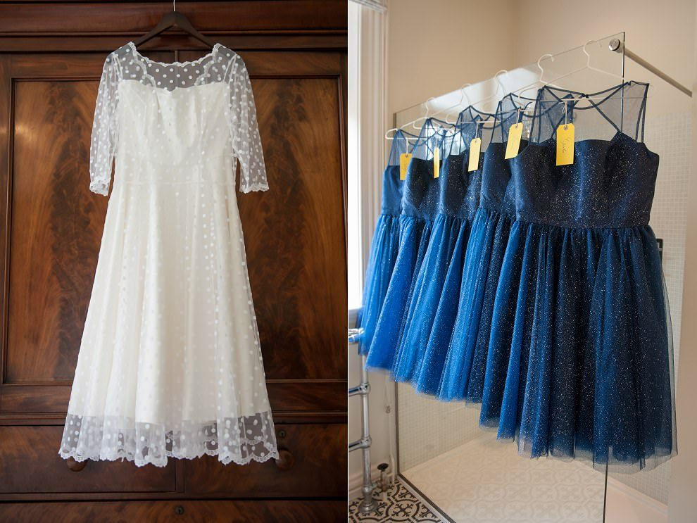 Blue bridesmaids dresses | tea length wedding dress