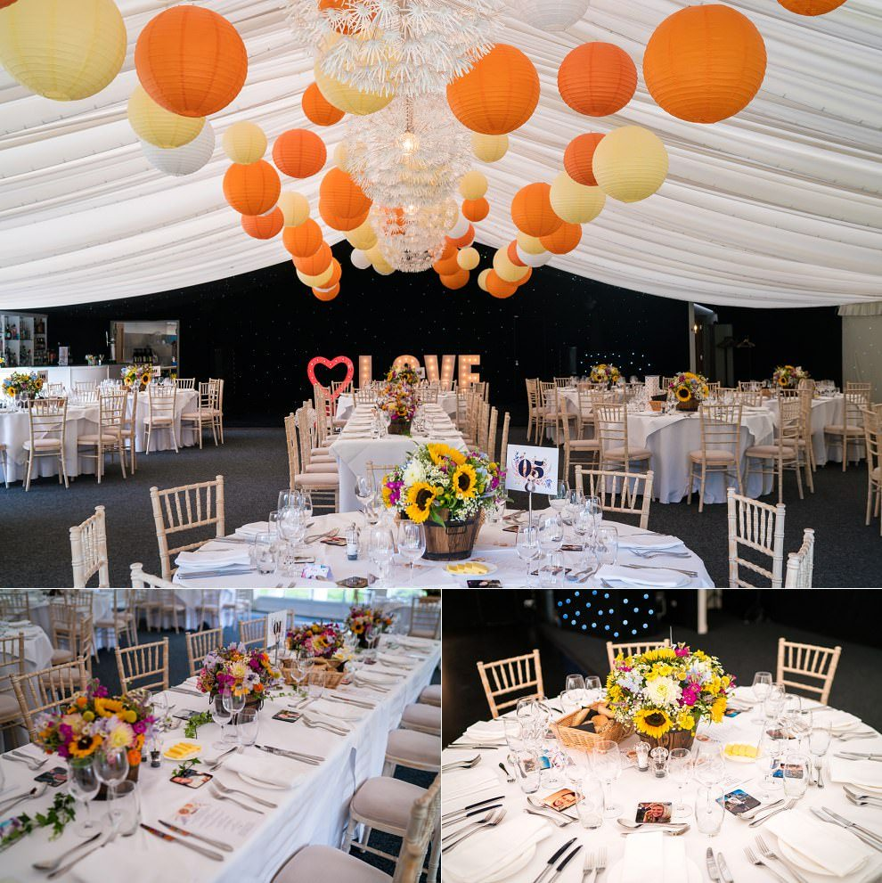 Chippenham Park wedding orange yellow decor