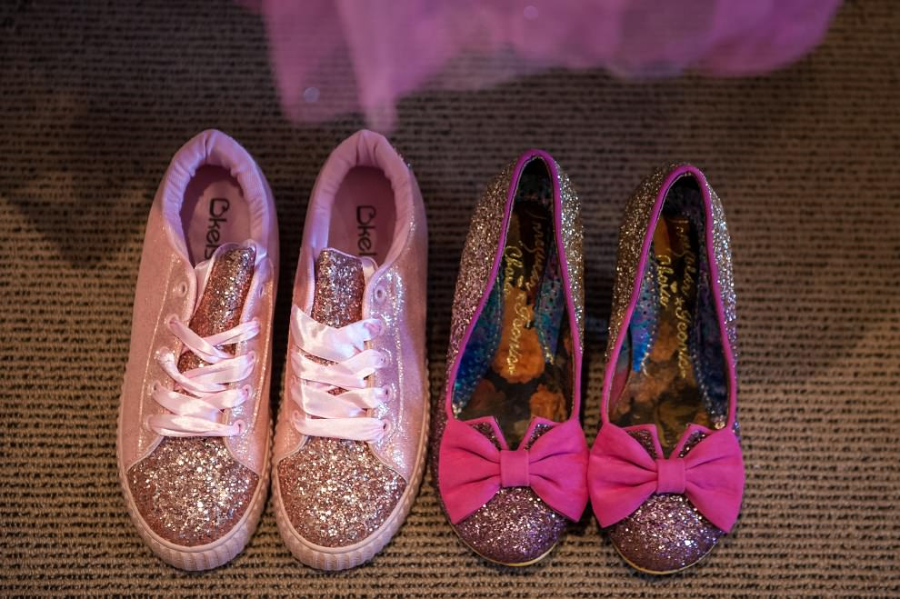 Pink wedding shoes | irregular choice and sparkly sneakers