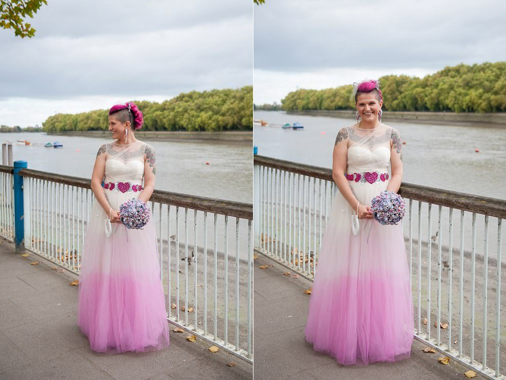 tattooed bride with pink hair | Putney Wedding photographer