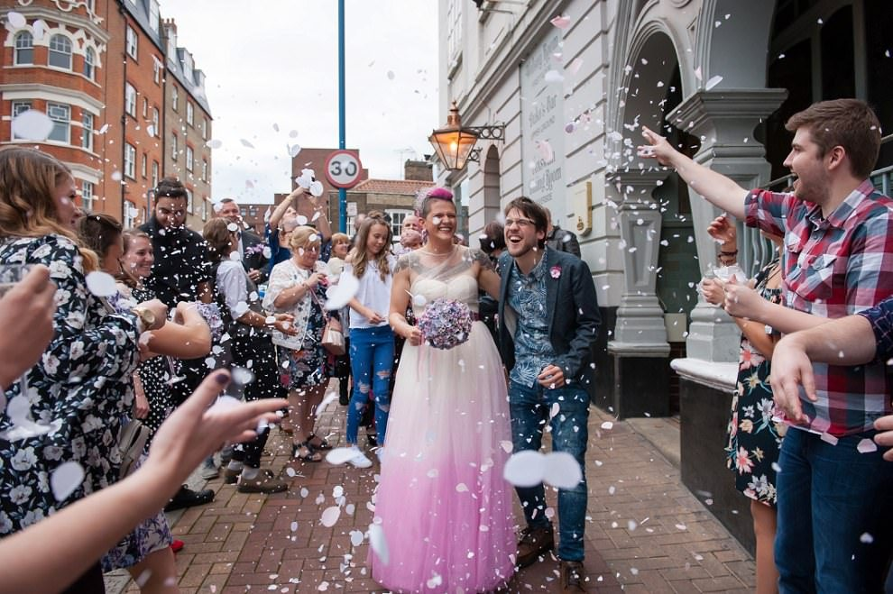 Confetti at Dukes head putney wedding