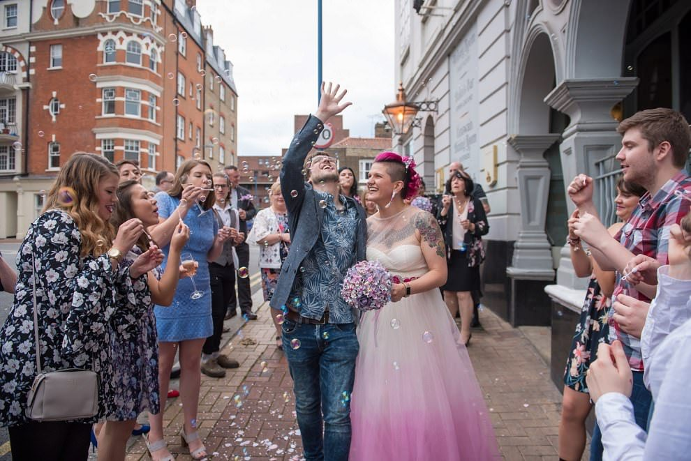 Bubble confetti at dukes head wedding putney