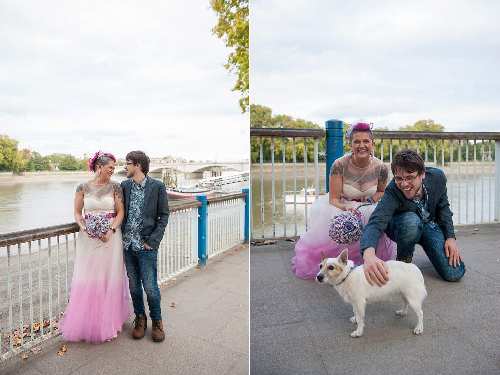 Bride and groom with dog | London wedding photos