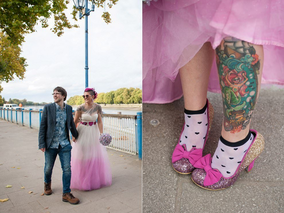 Wedding Irregular choice glitter shoes with socks | London wedding photographer