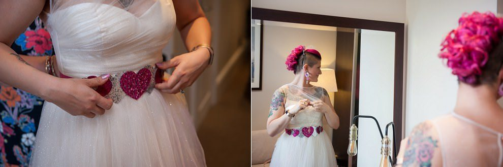 Pink heart belt wedding | Alternative London wedding photographers