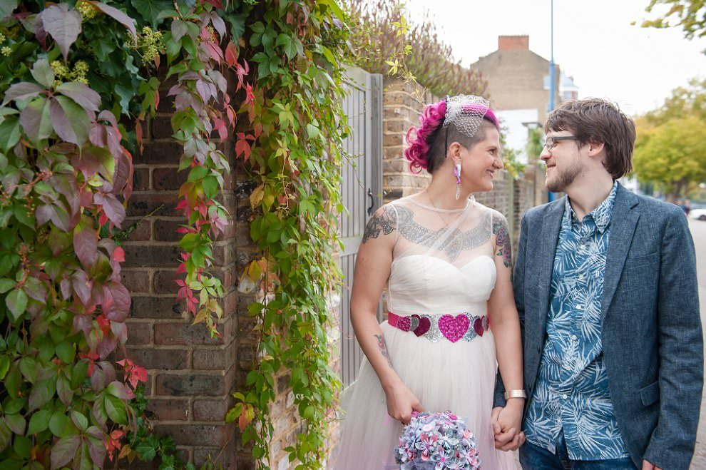 Quirky couple photos London wedding photographer