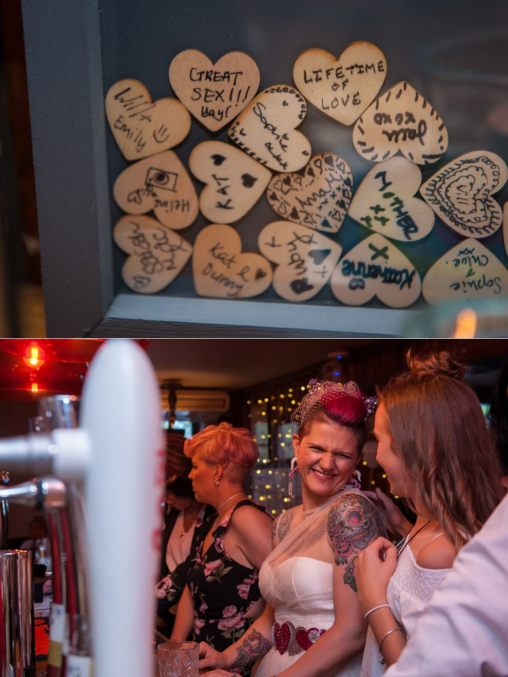 Wedding Guest book of wooden hearts in frame