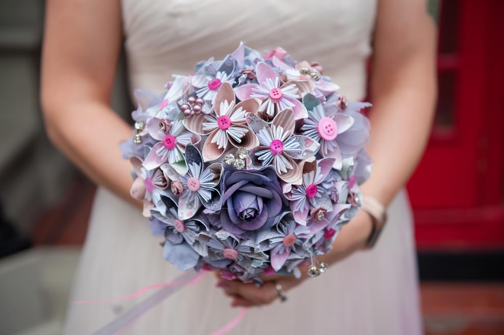 paper flowers bouquet wedding | London wedding photography