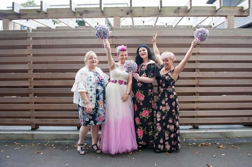 Quirky wedding photography London | mismatched bridesmaids