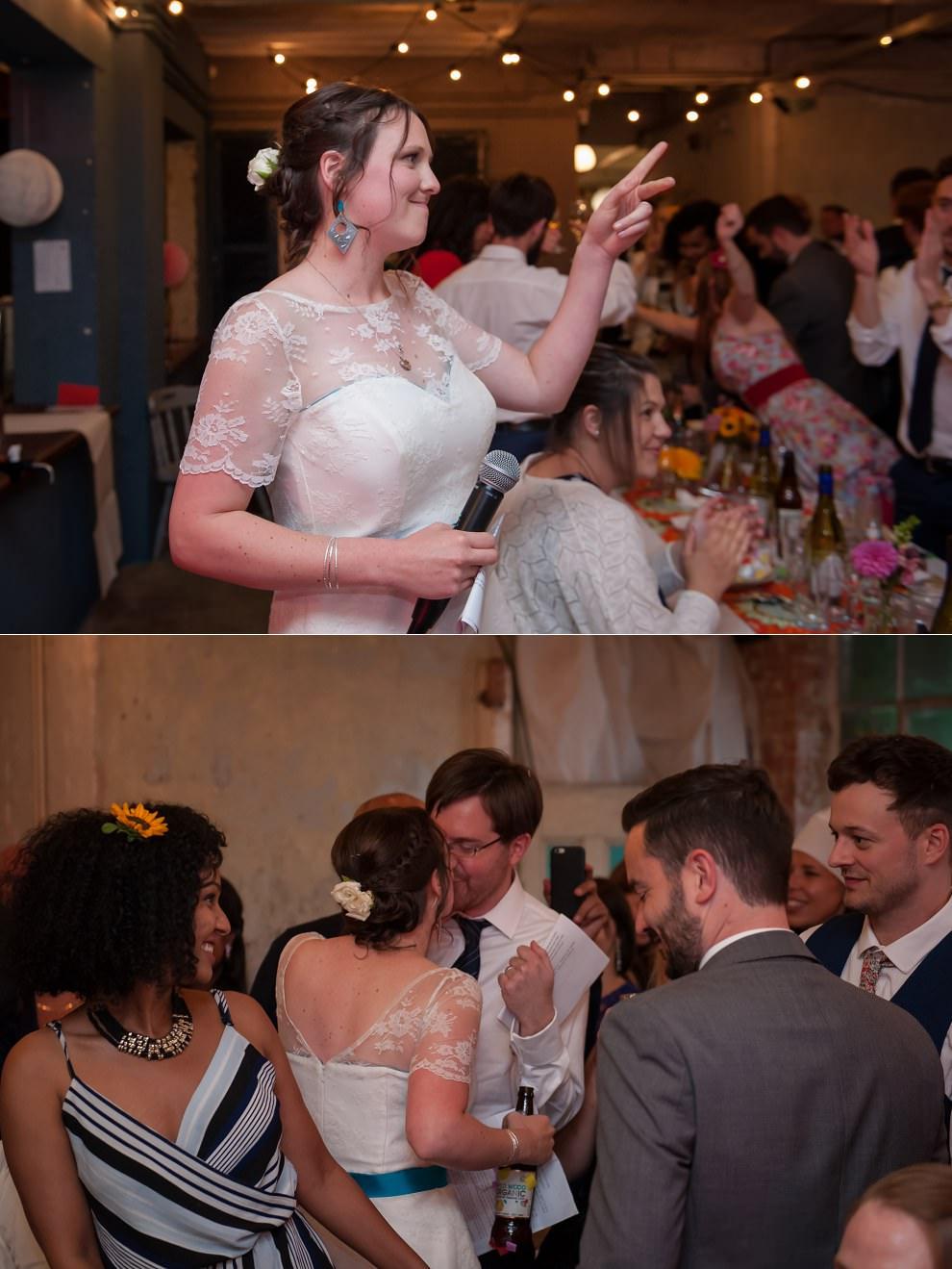 Bride giving speech at wedding