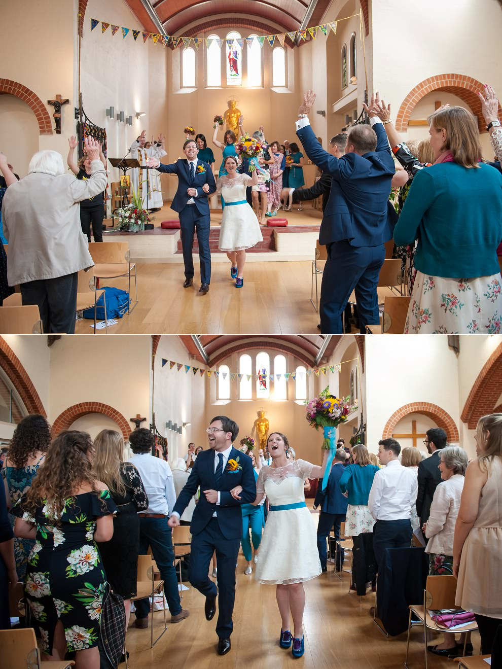 Happy bride and groom ceremony exit | South London wedding photographers