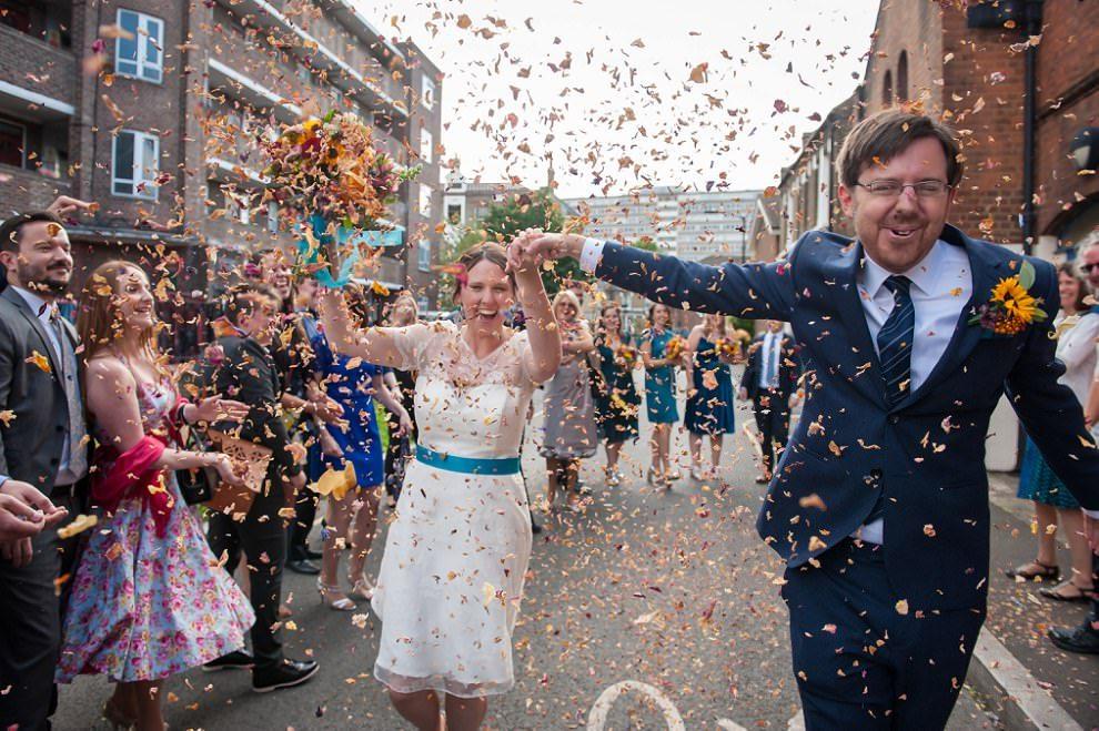 Epic confetti wedding photo | London wedding photographer