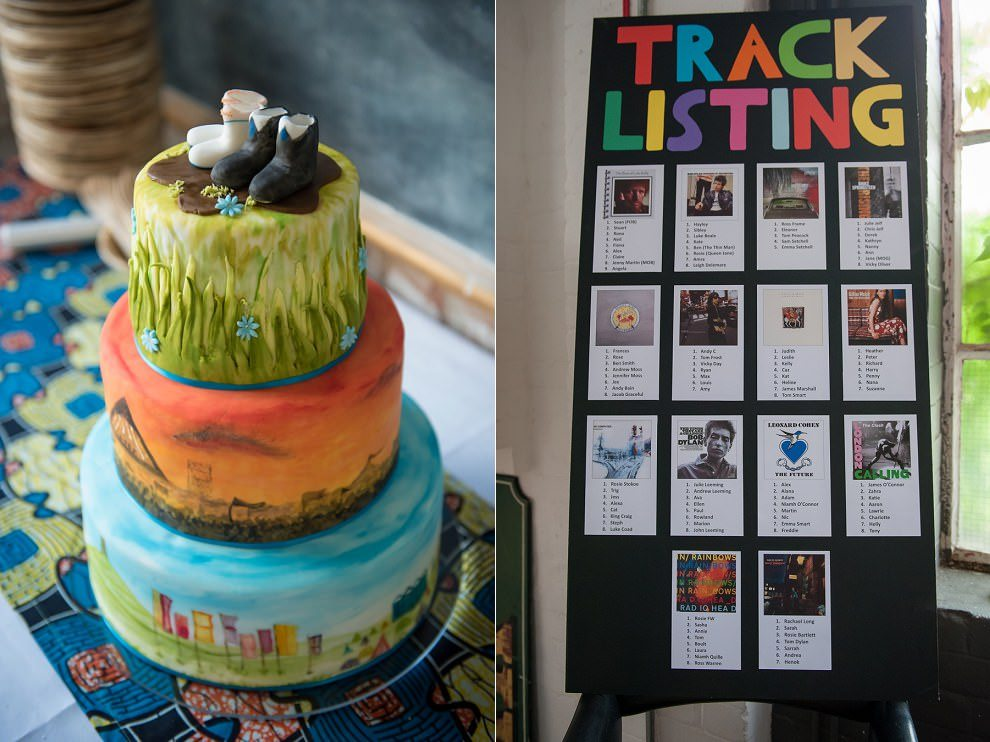 Table listing wedding - album covers as table names