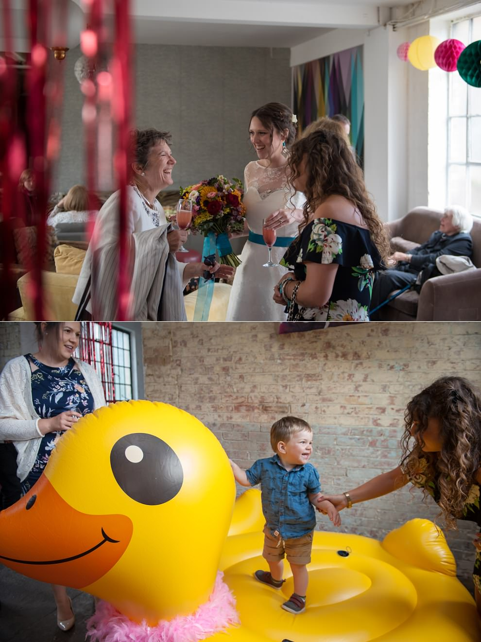Giant inflatable duck at wedding One Friendly Place