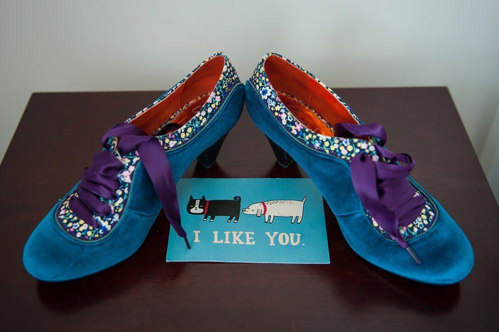 Blue velvet wedding shoes with purple laces