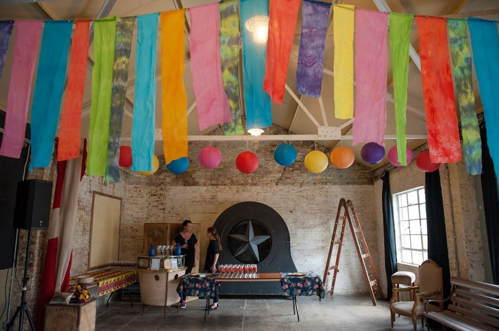 One Friendly Place wedding venue colourful streamers and lanterns