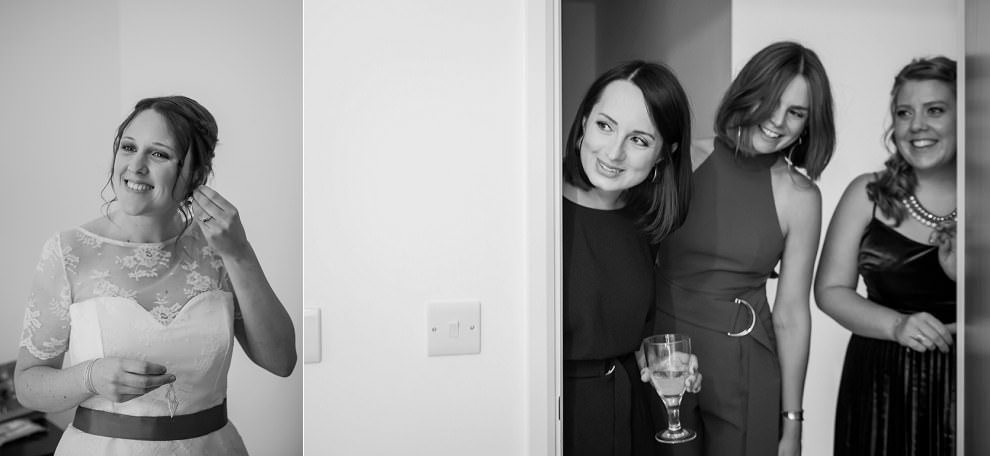 Bride getting ready & bridesmaids watching | south London wedding photographer