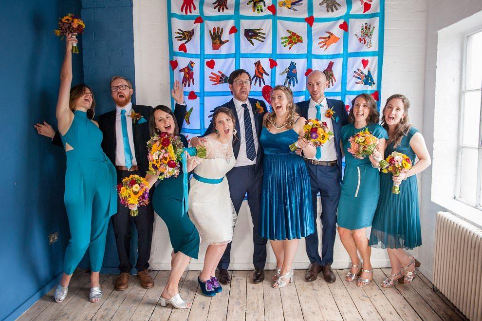 Fun bridal party photos | Alternative wedding photographer London
